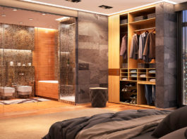 Sypialnia wykończona szarym kamieniem