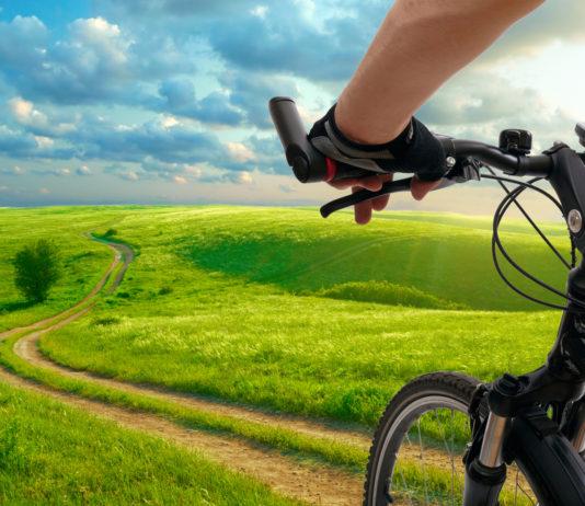 Zielone łąki i rower trekkingowy