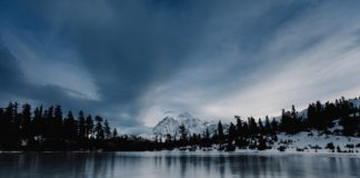 Zimowy krajobraz warunki do morsowania
