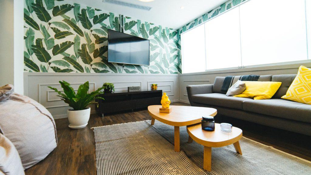 salon tapeta z roślinami