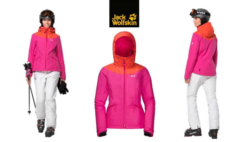 zestawy na narty różowa kurtka białe spodnie