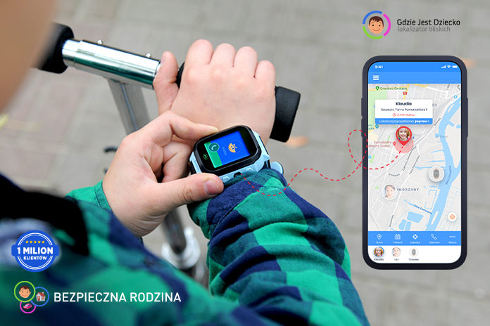 dziecko na rowerze z zegarkiem z GPS