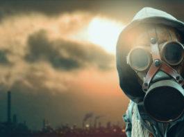 postapokaliptyczna wizja człowiek w masce przeciwgazowej