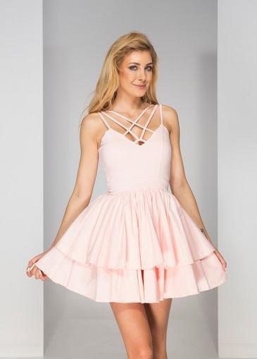 Sukienka na ramiączkach w kolorze bladego różu