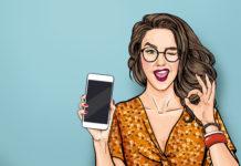 ilustracja mrugająca dziewczyna pokazująca smartfona