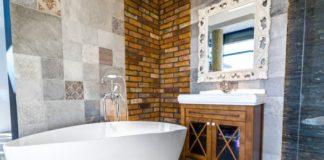 łazienka w stylu eklektycznym boho