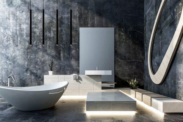 nowoczesna ciemna łazienka z ciekawym oświetleniem