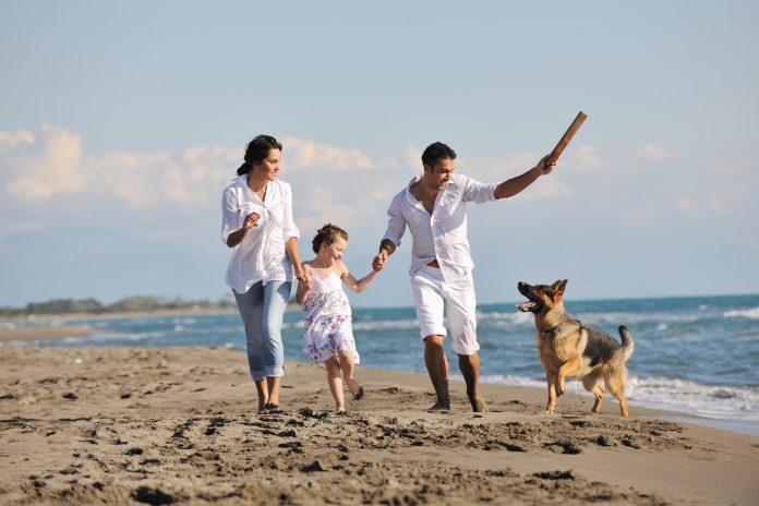 rodzina z psem nad morzem