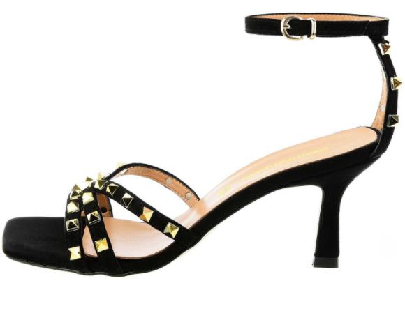 Czarne sandały z dżetami